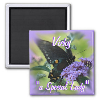 Black ButterflyMagnet-customize 2 Inch Square Magnet