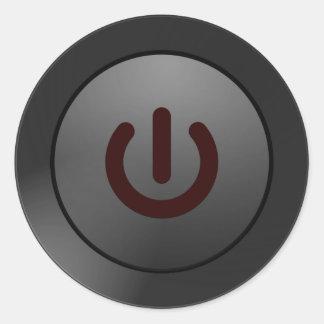 Black Button - On Symbol Classic Round Sticker