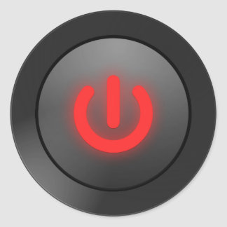 Black Button - Red - Off Symbol Classic Round Sticker