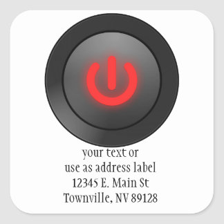 Black Button - Red - Off Symbol Stickers