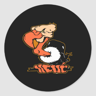 Black Buzzard Cartoon Tattoo Classic Round Sticker