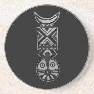 Black Bwa African Masks BW_Art Decor Drink Coaster