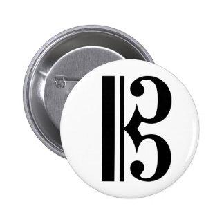 Black C Clef 2 Inch Round Button