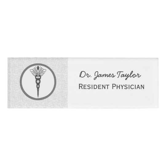 Black caduceus physician doctor medicine symbol name tag for Dr name tag template