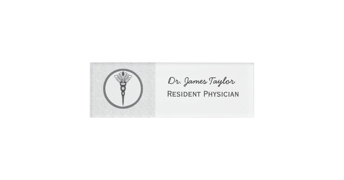 Doctors name tags zazzle black caduceus physician doctor medicine symbol name tag pronofoot35fo Image collections