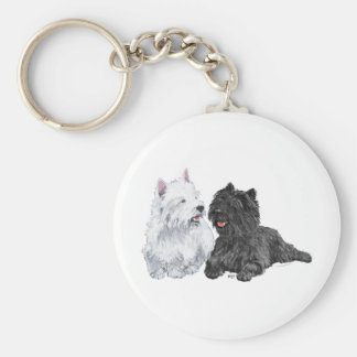 Black Cairn and West Highland Terriers Keychain
