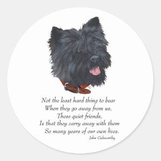 Black Cairn Terrier Rainbow Bridge Classic Round Sticker
