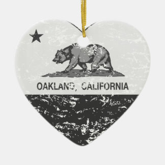 black california flag oakland heart distressed Double-Sided heart ceramic christmas ornament