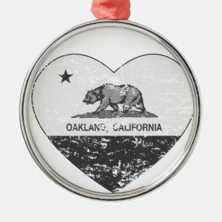 black california flag oakland heart distressed round metal christmas ornament