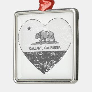 black california flag oakland heart distressed square metal christmas ornament