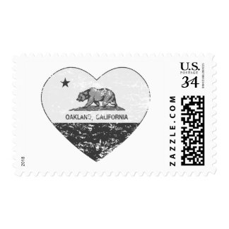 black california flag oakland heart distressed postage stamps