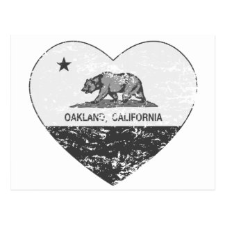 black california flag oakland heart distressed postcard