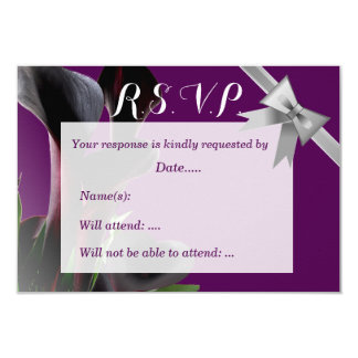 Black Calla Lily Flowers and Ribbon Bow 3.5x5 Paper Invitation Card