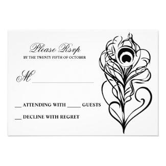 black calligraphic peacock feather wedding RSVP Announcement