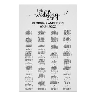 Black Calligraphy Alphabetical Seating Chart