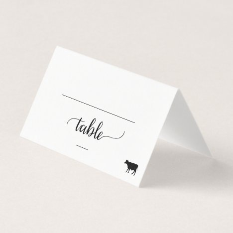 Black Calligraphy Beef Meal Option Wedding Place Card