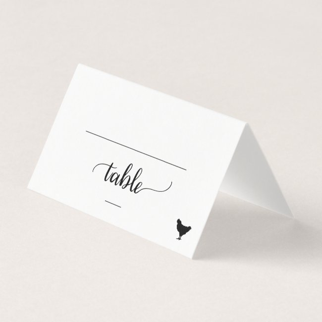 Black Calligraphy Chicken Meal Option Wedding Place Card