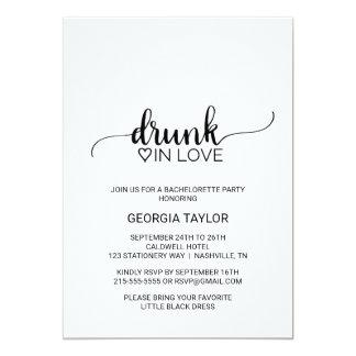 Black Calligraphy Drunk In Love Bachelorette Party Invitation