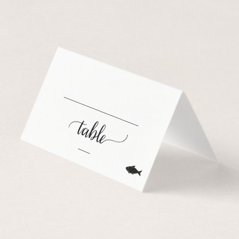 Black Calligraphy Fish Meal Option Wedding Place Card