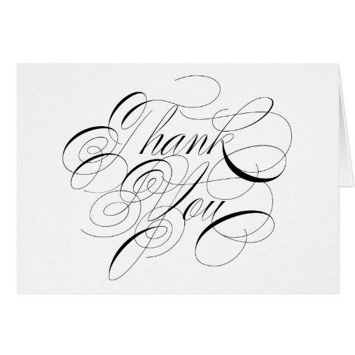 Black Calligraphy Formal Thank You Note Card Zazzle