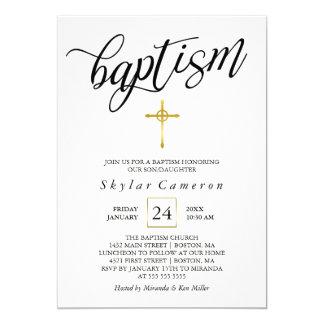 Black Calligraphy Gold Cross Baptism Card