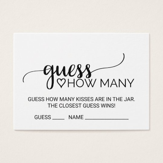 Black Calligraphy Guess How Many Kisses Game Cards ...