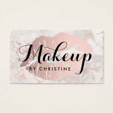 Professional Business black calligraphy makeup on big pink lips business card