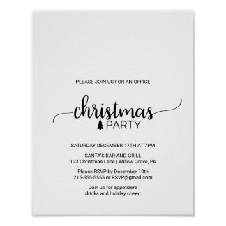 Black Calligraphy Office Christmas Party Invite Poster