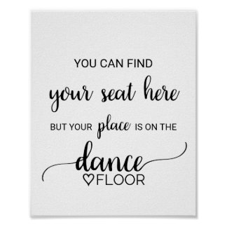 Black Calligraphy Place Card Dance Floor Sign