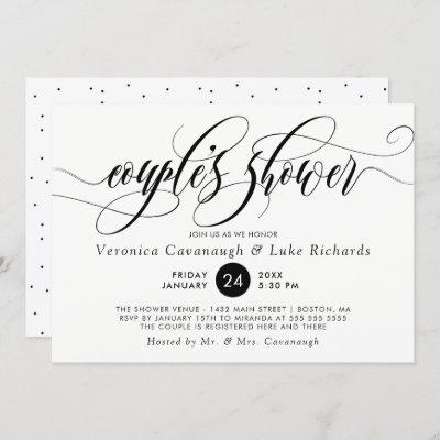 Black Calligraphy Swirls Couple's Shower Invitation
