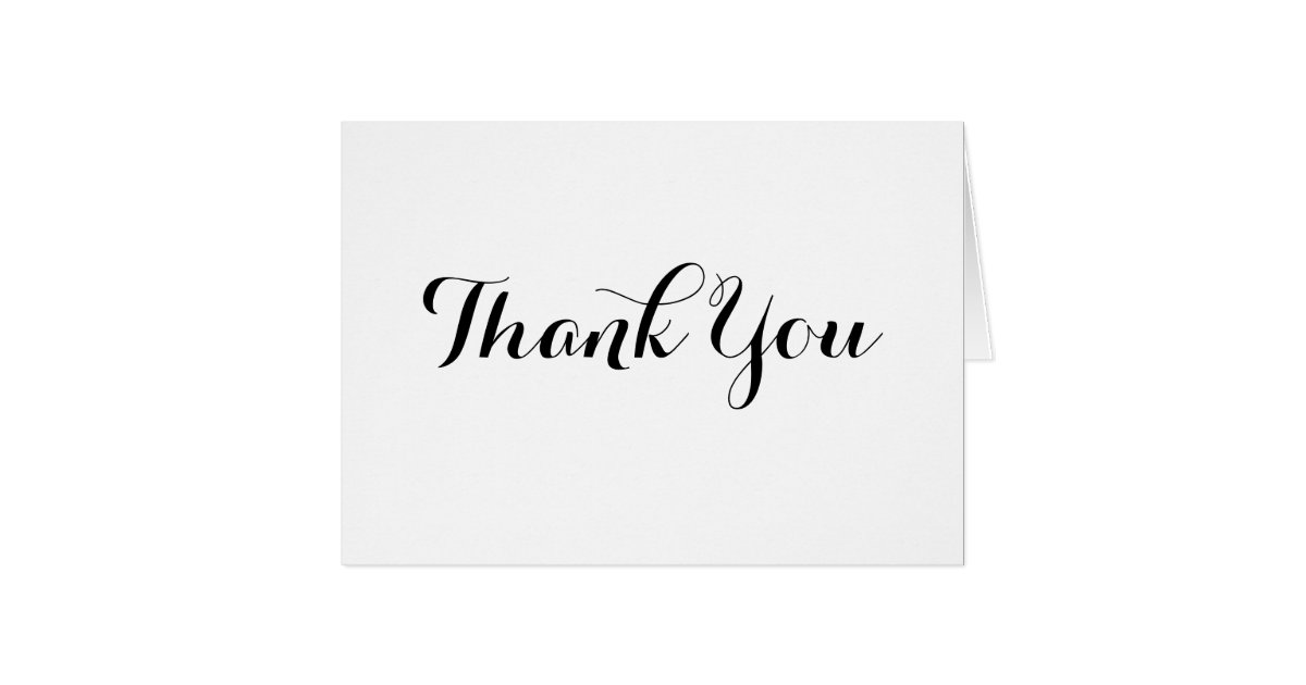 Black Calligraphy Thank You Note Card Template | Zazzle