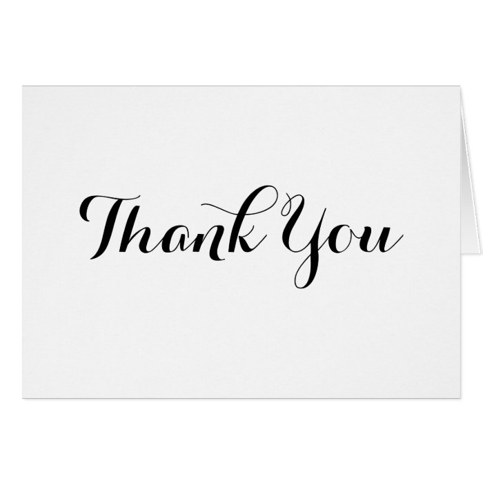 Black Calligraphy Thank You Note Card Template Zazzle