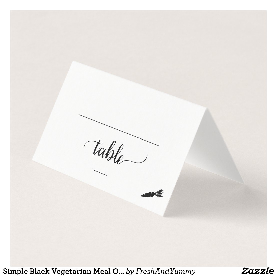 Black Calligraphy Vegetarian Meal Option Wedding Place Card