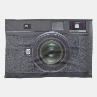 Black camera kitchen towel