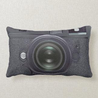 Black camera lumbar pillow
