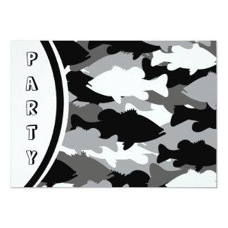 Black Camo Bass Fishing 5x7 Paper Invitation Card