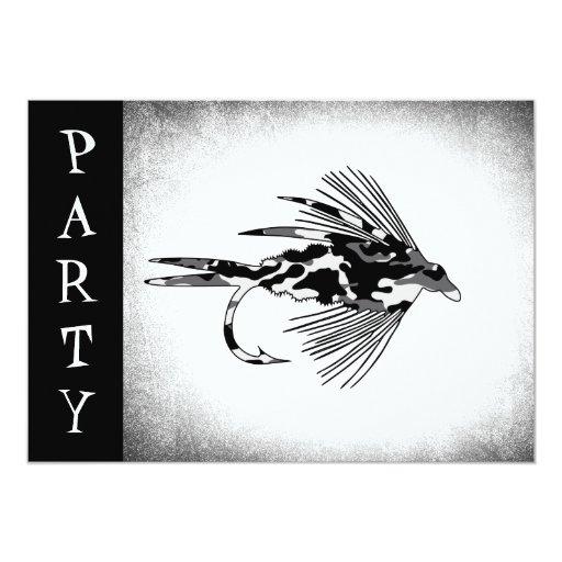 "Black Camo Fly Fishing lure 5"" X 7"" Invitation Card"