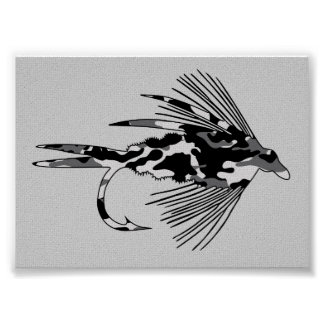 Black Camo Fly Fishing lure Posters