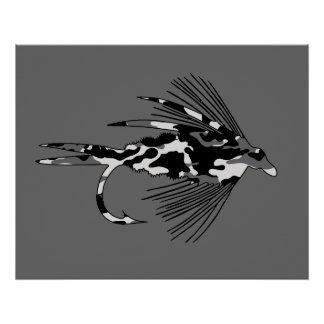 Black Camo Fly Fishing lure Poster