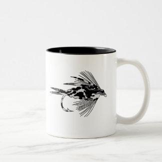 Black Camo Fly Fishing lure Two-Tone Coffee Mug