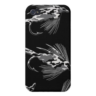 Black Camo Fly Fishing pattern iPhone 4/4S Cases
