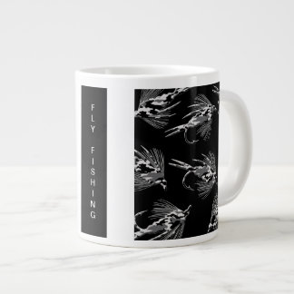 Black Camo Fly Fishing pattern Large Coffee Mug
