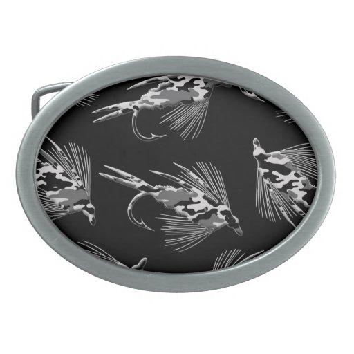 Black Camo Fly Fishing pattern Oval Belt Buckle