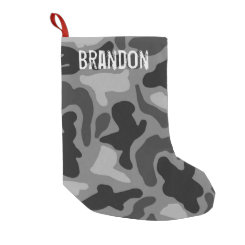 Black Camo Grunge Name Christmas Stocking Small Christmas Stocking