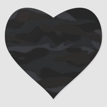 Black Camo Heart Sticker