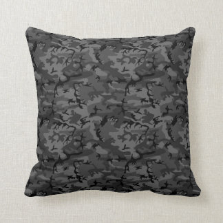 Black Camo Pattern Throw Pillow