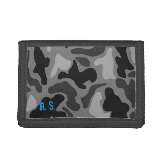 Black Camo Print Name or Initials Guys Wallet