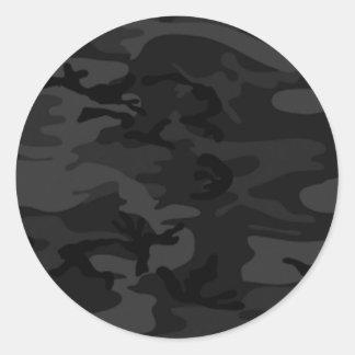 Black Camo Round Stickers