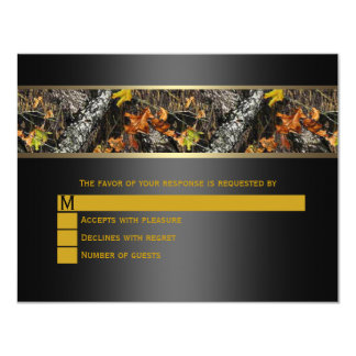 Black Camo Wedding RSVP 4.25x5.5 Paper Invitation Card