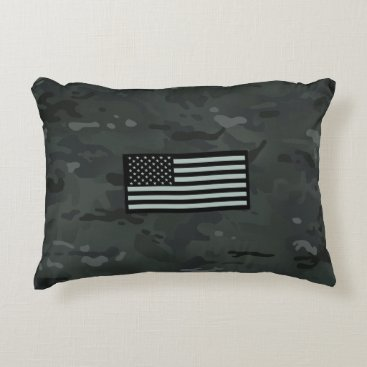 Black Camouflage Flag Accent Pillow